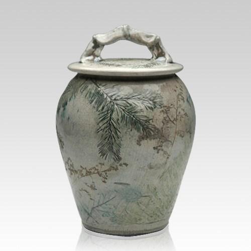 Forest Crackle Raku Cremation Urn