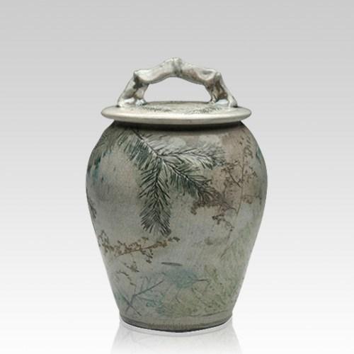 Forest Crackle Raku Medium Cremation Urn