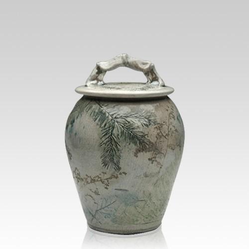 Forest Crackle Raku Small Cremation Urn