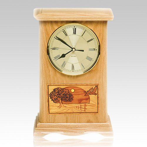 Geese Clock Oak Cremation Urn