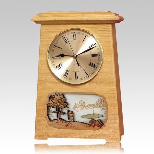 Golf Astoria Clock Oak Cremation Urn