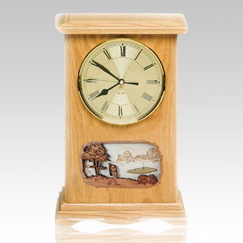 Golf Clock Oak Cremation Urn