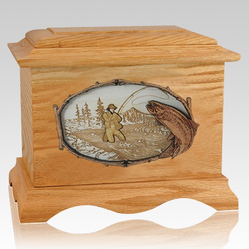 Fly Fishing Oak Cremation Urn
