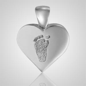 Heart Foot Print 14k White Gold Keepsake