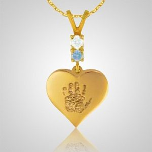 Heart Hand Print 14k Yellow Gold Keepsake