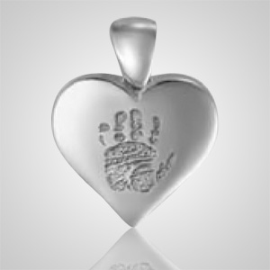 Heart Hand Print Sterling Silver Keepsake