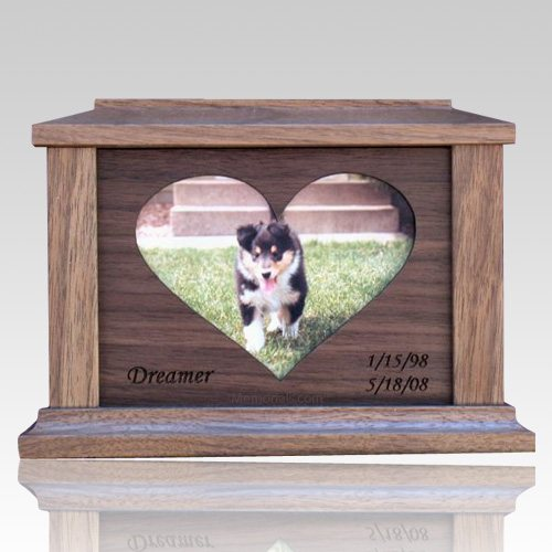 Center Heart Picture Cremation Urn - Large