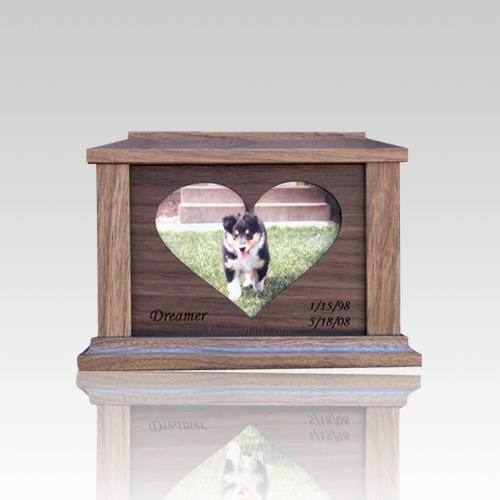 Center Heart Picture Cremation Urn - Small