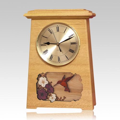 Hummingbird Astoria Clock Oak Cremation Urn