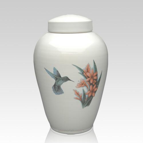 Hummingbird Ceramic Cremation Urn