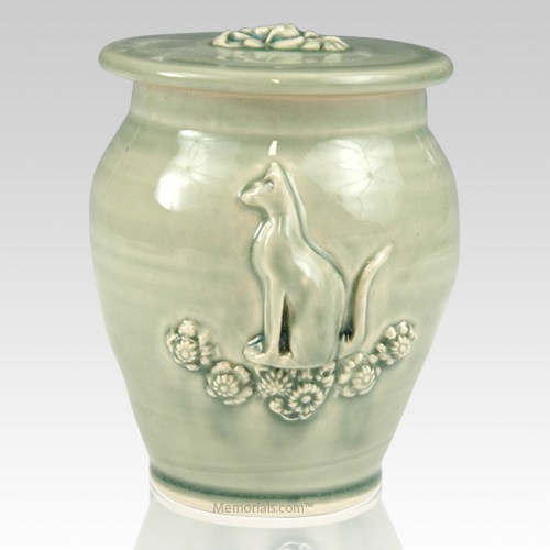 Kitty Light Green Ceramic Cremation Urn