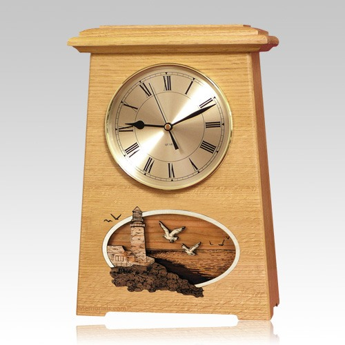Lighthouse Astoria Clock Oak Cremation Urn