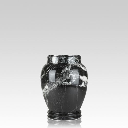 Black Zebra Marble Small Cremation Urn
