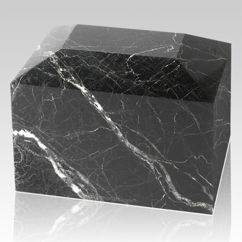 Black Zebra Square Large Marble Cremation Urn