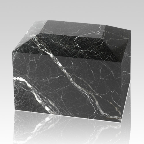 Black Zebra Square Small Marble Cremation Urn