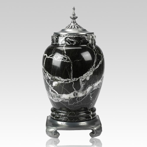 Black Zebra Pewter & Marble Urn