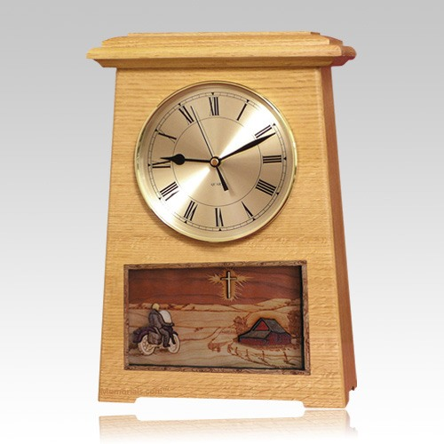 Motorcycle and Farmhouse Astoria Clock Oak Cremation Urn