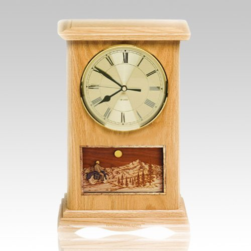 Motorcycle and Moon Clock Oak Cremation Urn