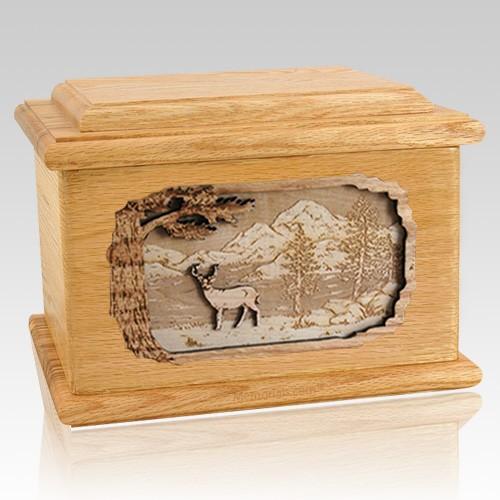 Deer Oak Memory Chest Cremation Urn