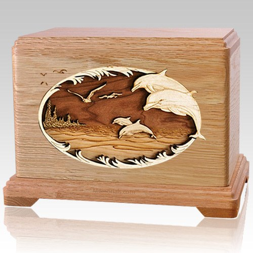 Dolphin Oak Cremation Urn For Two
