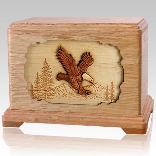 Eagle Oak Cremation Urn For Two