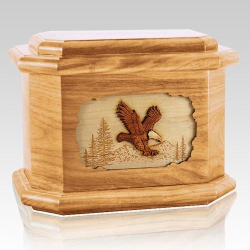 Eagle Oak Octagon Cremation Urn