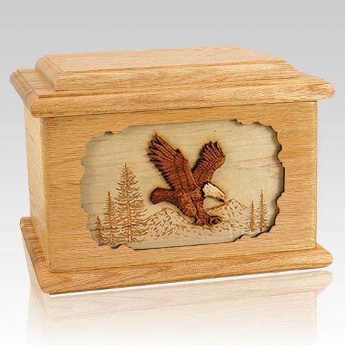 Eagle Oak Memory Chest Cremation Urn