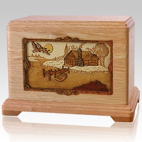 Rustic Paradise Oak Cremation Urn For Two