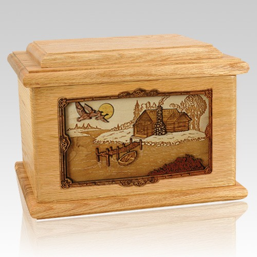 Rustic Paradise Oak Memory Chest Cremation Urn