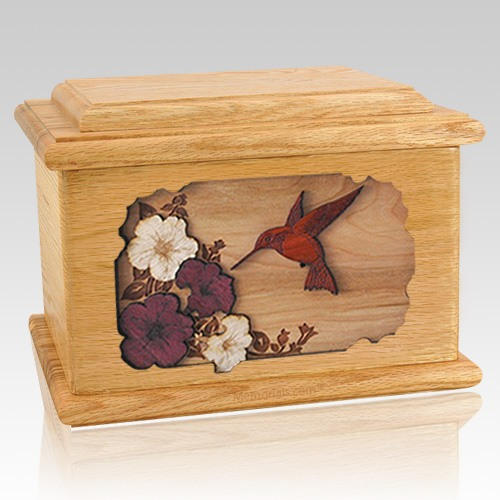 Hummingbird Oak Memory Chest Cremation Urn