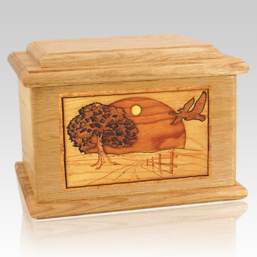 Geese Oak Memory Chest Cremation Urn