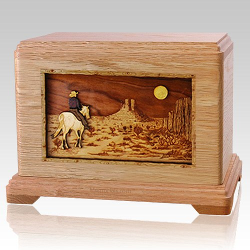 Horse Moon Oak Hampton Cremation Urn
