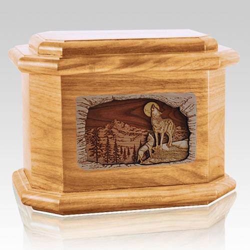 Moonlight Serenade Oak Octagon Cremation Urn