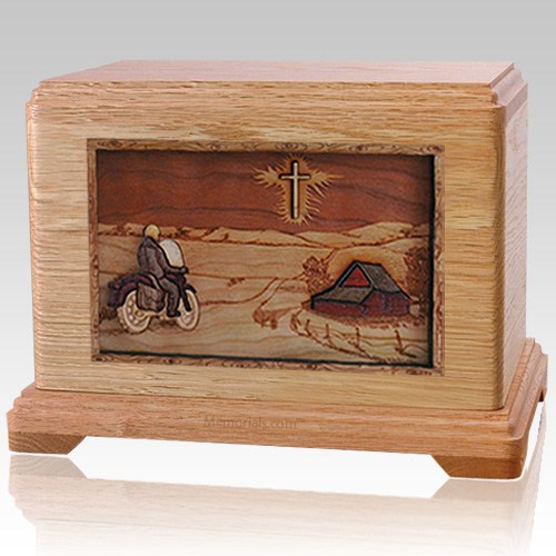 Motorcycle & Cross Oak Cremation Urn For Two