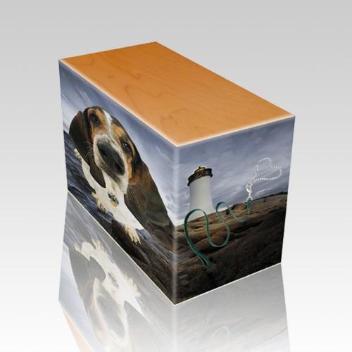 Lighthouse Oak Pet Picture Urn