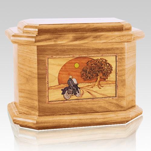 Motorcycle & Moon Oak Octagon Cremation Urn