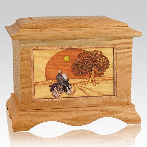 Motorcycle & Moon Oak Cremation Urn