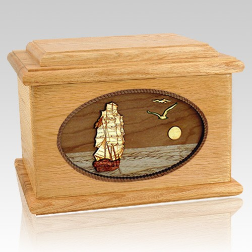 Sailing Home Oak Memory Chest Cremation Urn