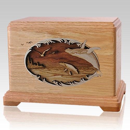 Whale & Calf  Oak Hampton Cremation Urn