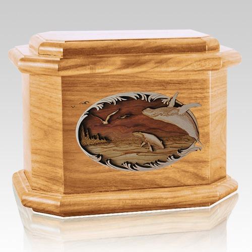 Whale & Calf Oak Octagon Cremation Urn