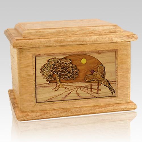 Pheasant Oak Memory Chest Cremation Urn