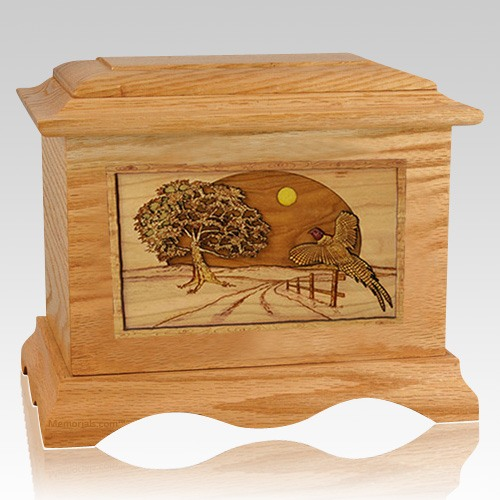 Pheasant Oak Cremation Urn