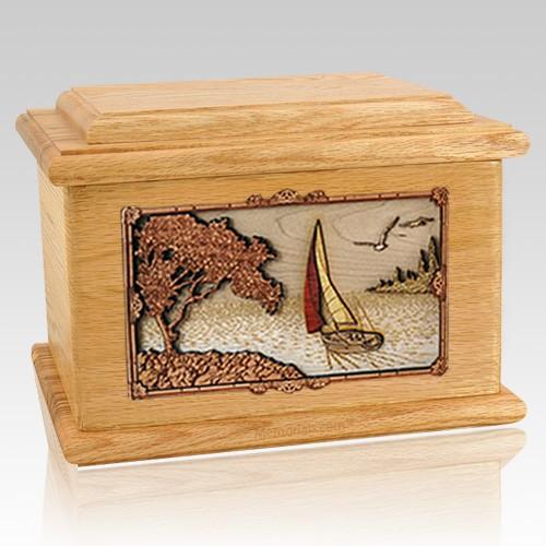 Sailboat Oak Memory Chest Cremation Urn