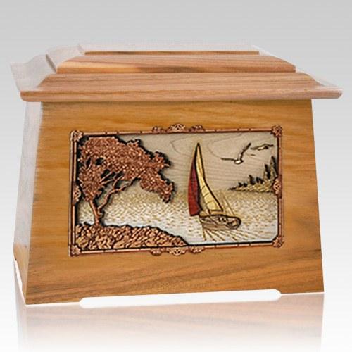 Sailboat Oak Aristocrat Cremation Urn
