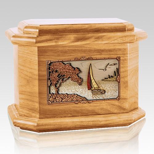 Sailboat Oak Octagon Cremation Urn