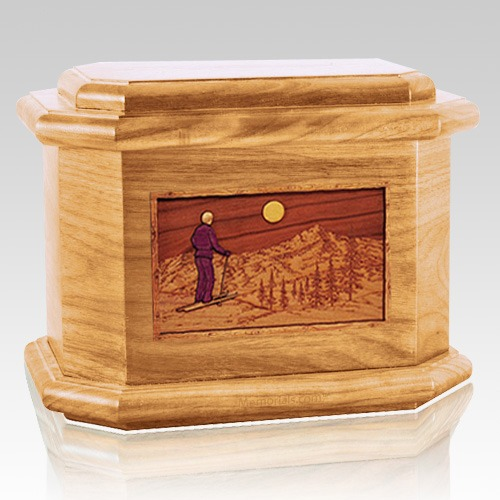 Skiing Oak Octagon Cremation Urn