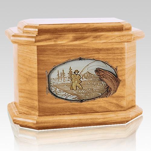 Fly Fishing Oak Octagon Cremation Urn