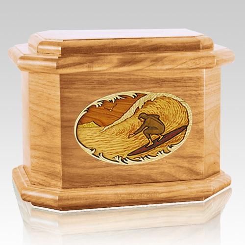 Surfer Oak Octagon Cremation Urn