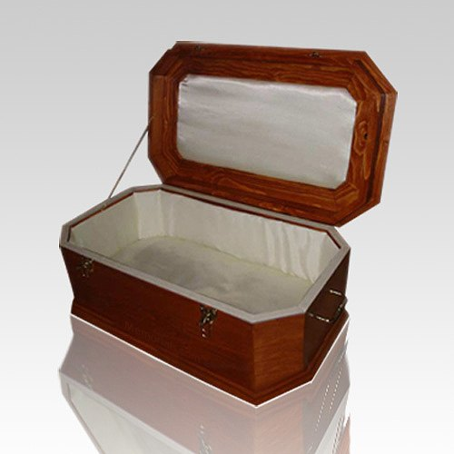 White Satin with Cherry Wood Casket