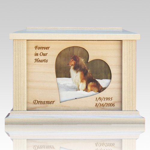 Pet Heart Picture Cremation Urn - Large